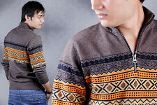 Mens Winter Fashion Warm Sweater Long Sleeves knitted Jumper with Quarter Zip
