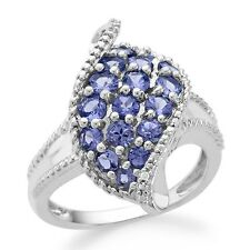 1.35 Carat Tanzanite & White Diamond Leaf Ring in Sterling Silver
