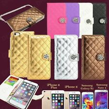 Luxury Leather Wallet Flip Cover Case For Galaxy S5 / iPhone 6 / 6S / 6 Plus