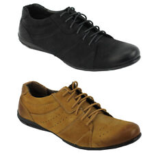 Mens Suede Leather Black Tan Casual Walking Lace up Trainers Flat Smart Shoes