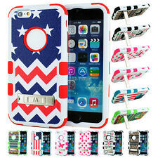 "For Apple iPhone 6 4.7"" Hard Rubber Hybrid Armor Kickstand Case Cover Pattern"