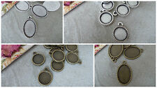10MM TRAY 0R 18MM X 13MM CABOCHON MOUNT,PENDANT SETTING, SILVER OR BRONZE