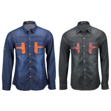 Mens New Cotton Denim Western Long Sleeve Black Blue Slim Fit Smart Casual Shirt