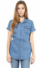 Sleeveless Foldover Denim Shirt