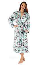 New Ladies Satin Aqua Green Floral Dressing gown wrap size 10 to 20 LN382