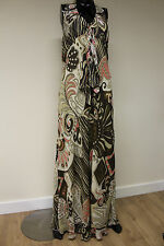 Morgan De Toi womens bolo halter neck maxi dress brown beige pattern size large