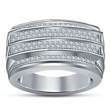 925 Silver Pure White Platinum FN Round White CZ Charming Men's Wedding Ring