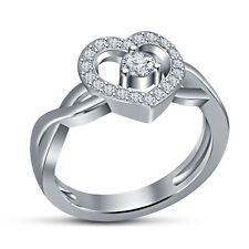White Platinum Over 925 Silver Solitare With Accent Ring With Heart Shape Design