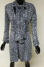 Morgan De Toi womens grey leopard print dress with scarf and fitted waist