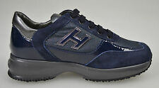 HOGAN scarpe JUNIOR Sneakers HXC00N025827CC2B45 INTERACTIVE H FLOCK NAVY 66705 +