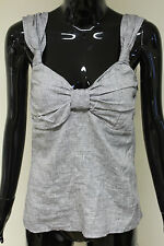 Morgan De Toi womens silver sparkle bow front cami vest top size zip closure