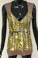 Morgan De Toi womens bagoo vest v-neck brown gold spotted top size small