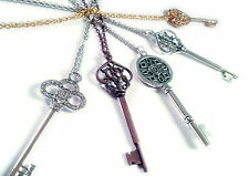 Key Charm Long Chain Statement Necklace Multiple Designs