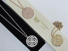 GENUINE ARABESQUES JEWELS DISC NECKLACE/PENDANT ORNAMENTAL CRYSTAL LOTUS COIN