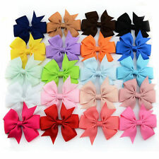 Rainbow Ribbon Hair Bows WITH Clip Pinwheel HairBows Hair Clips Party Christmas