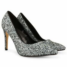 LADIES WOMENS HIGH STILETTO HEELS DOLCIS COURT GLITTER BRIDSMAID PROM SHOES SIZE