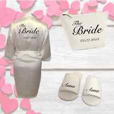 Personalised Bridal Wedding Kit Wedding Robe, Slippers and Bag | Gift for Brides