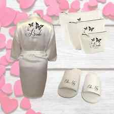 Personalised Butterfly Wedding Kit Robe Slippers and Bags |Gift for Bridal Party