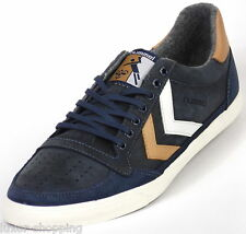Neu HUMMEL Ten Star Oiled Low Dress Blau Leder Sneaker Schuhe Turnschuhe