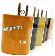 4x SOLID WOOD REPLACEMENT FURNITURE LEGS FEET SOFA, CHAIR, SETTEE M8 (8MM)