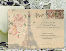 PERSONALISED WEDDING INVITATIONS Vintage Paris Postcard Design with Envelopes