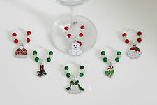 SET OF 6 CHRISTMAS WINE GLASS CHARMS CHRISTMAS TABLE DECORATION STOCKING SET B