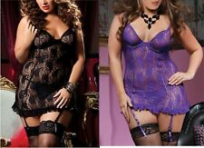 Babydoll Pizzo Tulle Nero o Viola Taglie Forti Comode Sexy Intimo Lingerie Curvy