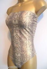 New M&S Bronze Shimmer Snakeskin Bandeau Bust/Tummy Control Swimsuit Sz 8 10