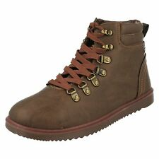 FIRETRAP MENS DARK BROWN LACE UP LEATHER ANKLE BOOTS- LENNON CC