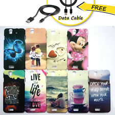 Lava Iris X5 Cover, Lava Iris X5 Designer Hard Back Case  + Free Data cable