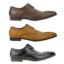 New Mens Faux Leather Tan Black Brown Pointy Smart Brogue Lace up Derby Shoes