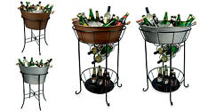 New Oval Party Steel Tub Ice Beverage Bucket STAND Wine Cooler Outdoor Bar Drink