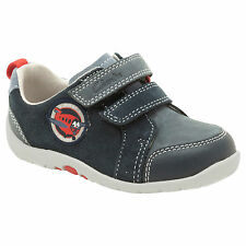 Clarks Soft Plane Infants UK 3 Narrow & Extra Wide Fit Navy Leather First Shoes