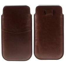 """BROWN 5.5/5.7"""" MOBILE PHONE LEATHER CARD SLOT QUICK RELEASE PULL TAB CASE POUCH"""