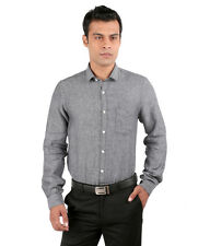 JHAMPSTEAD Full Sleeves Plain 100% Cotton Slim Fit Grey Shirt