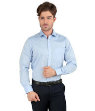 JHAMPSTEAD Full Sleeves Plain 100% Cotton Slim Fit Blue Shirt