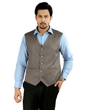 Oxemberg Sleeve Less Sleeves Plain PV Slim Fit Sand Waist Coat