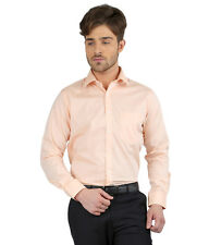 JHAMPSTEAD Full Sleeves Plain 100% Cotton Slim Fit Peach Shirt