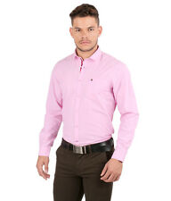 Oxemberg Full Sleeves Plain 100%  Cotton Slim Fit Pink Shirt