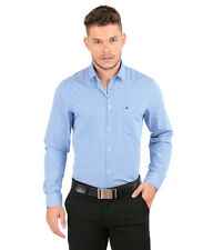 Oxemberg Full Sleeves Stripes 100% Cotton Slim Fit Blue Shirt