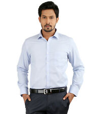 Oxemberg Full Sleeves Plain 100% Cotton Slim Fit Baby Blue Shirt