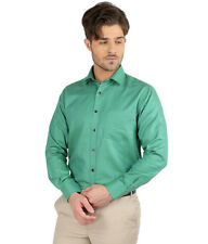 JHAMPSTEAD Full Sleeves Plain 100% Cotton Slim Fit Green Shirt