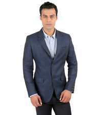 JHAMPSTEAD Full Sleeves Plain Linen Slim Fit Blue Blazer