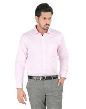 Oxemberg Full Sleeves Plain PC Slim Fit Baby Pink Shirt