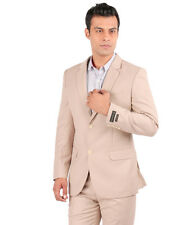 JHAMPSTEAD Full Sleeves Plain TR Slim Fit Beige Suit