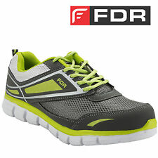 E-106 Fudron Mens Sports Shoes Jogging Casual Sneakers Grey Flourocent Green