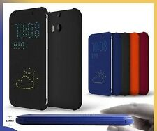 NEW Slim DOT MATRIX VIEW Smart Rubber Flip Case Cover for HTC One M8 and One M9