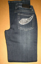 "Arizona ""Samba"" Bootcut Stretch Jeans/dark blue used/Flügel Strass 34 36 neu"