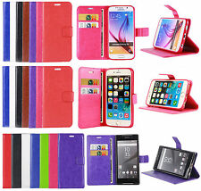 Genuine PU Leather Wallet Book Flip Case Cover For IPhone,Samsung,Xperia Z5,Mini