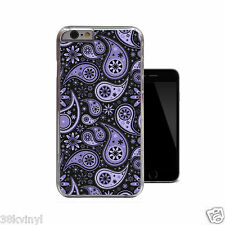 Purple Paisley Pattern Black Classy Floral Hard Case For iPhone 4 4s 5 5s 5c 6